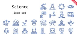 science icon set. line icon style. science related icons such as asteroids, moon phases, sprout, idea, hologram, brain, robot, spaceship, eye, globe, open book, ironing, flask, map, industrial robot