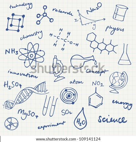 Science icons doodles vector set