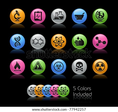 Science Icons // Gelcolor Series -------It includes 5 color versions for each icon in different layers ---------
