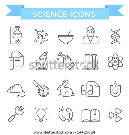 Science icons, thin line, flat design