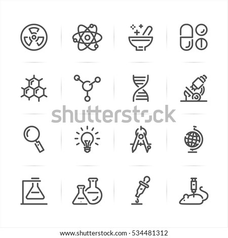 science icons with white