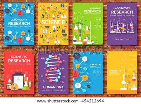 Science information cards set. laboratory template of flyer, magazines, posters, book cover, banners. Chemistry infographic concept background. Layout illustrations template pages with typography