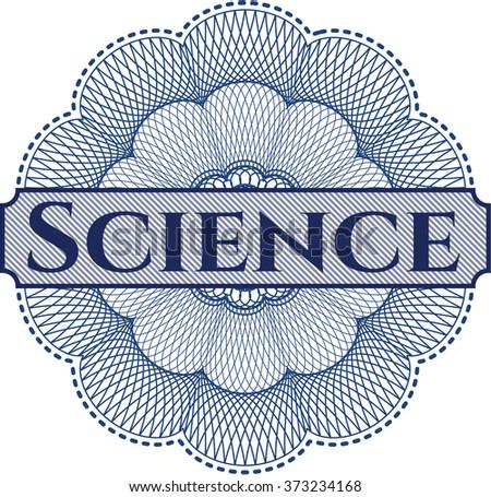 Science inside money style emblem or rosette