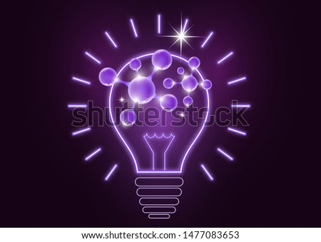 Science is the study of molecules, atoms, neurons. Icon idea, solution, discovery in the form of a glowing light bulb. Vector illustration for your design.