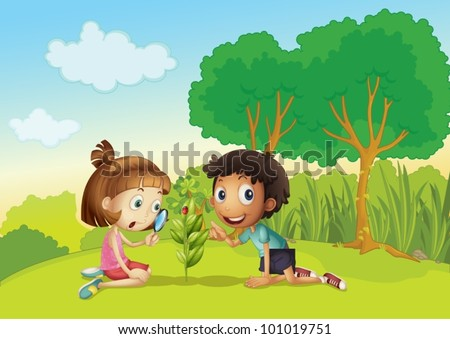 Science kids in the park - stock vector
