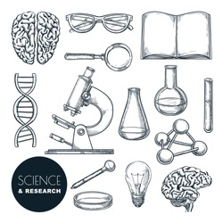 Science lab and chemistry research sketch vector illustration. Isolated hand drawn education icons set. Human brain, dna and laboratory equipment collection for chemical experiments.