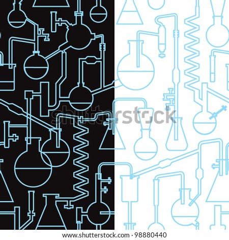stock vector : science lab seamless pattern