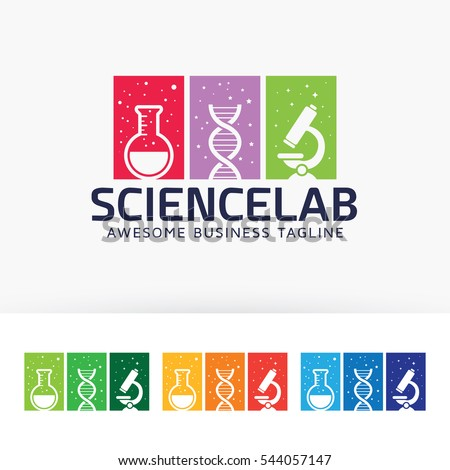 Science Lab. Vector logo template. dna, university, universe, microscope, doctor, education