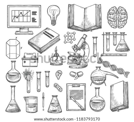 Science laboratory and research experiment sketch icons. Vector genetics DNA molecule, chemistry beaker or biology microscope and scientist book or human brain and lightbulb