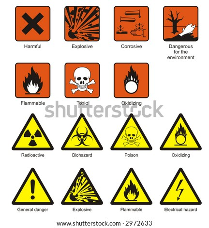 Science laboratory safety chemical hazard signs stock vector