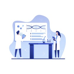 Science laboratory. Scientific lab equipments, professional scientific research and scientist workers. Medical researchers laboratory, biology scientists or doctors vector illustration