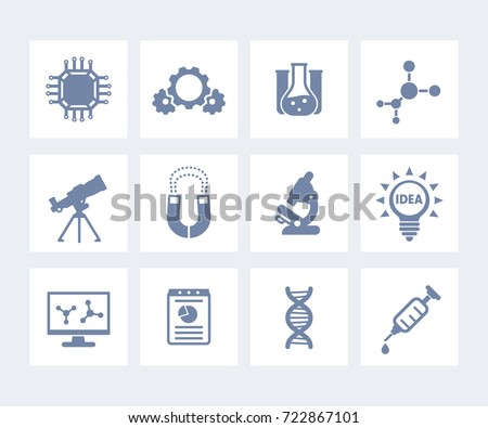 Science, laboratory study and research icons isolated on white