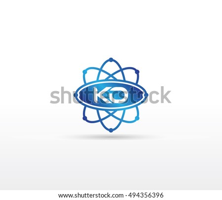 Science logo with the initials KO letter. Science logotype template design