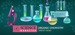 Science magazine horizontal banner with decorative icons of equipment for experiments in organic chemistry laboratory  vector illustration