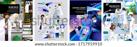 Science, medicine and technology and future innovations. Vector illustration of design concepts for poster, magazine and cover. Isolated drawings of a scientist, doctor and programmer