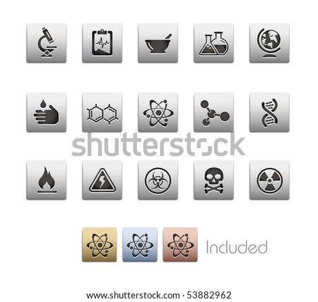 Science // Metallic Series - It includes 4 color versions for each icon in a different layer.