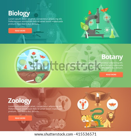 Science of biology. Natural sciences. Vegetable life. Botany knowledge. Animal planet. Zoology. Zoo. World of wildlife. Education and scientific banners set. Vector design concept.