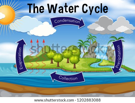 Science of water cycle illustration