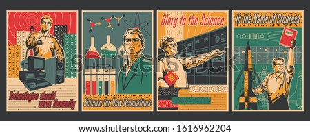 Science Popularizing Poster, Education Retro Placards Style, Scientific Discoveries, Chemistry, Physics, Astronautics, Engineering