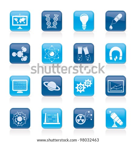 science, research and education Icons - Vector Icon set - stock vector
