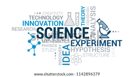Science, research and innovation tag cloud with icons and concepts Foto stock ©