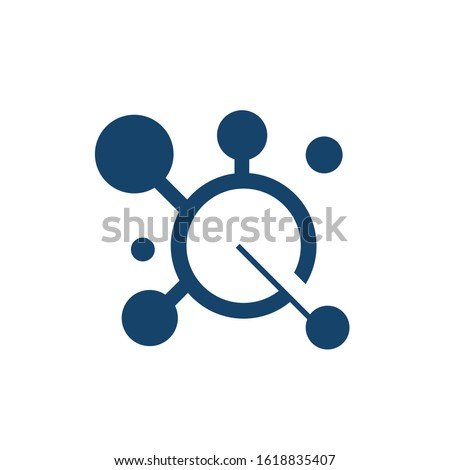 science research electrons nucleus atom logo design vector icon illustration