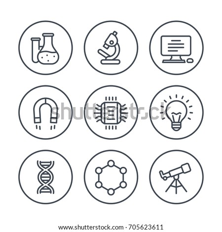 Science, research line icons on white
