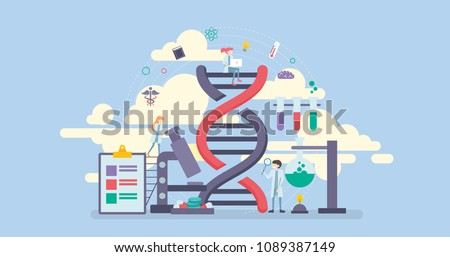 Science Research Technology Tiny People Character Concept Vector Illustration, Suitable For Wallpaper, Banner, Background, Card, Book Illustration, Web Landing Page, and Other Related Creative