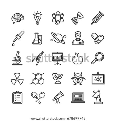 Science Research Thin Line Icon Set Like Microscope, Magnifier, Light Bulb Idea. Vector Elements for Mobile UI Concepts and Web Apps Scientific Sign.