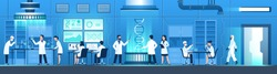 Science researching lab. Biotechnology genetic research, modification dna molecular tests. Genetic engineer scientists. Vector working laboratory doctors equipments and medical researcher concept