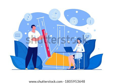 Science researching lab. Medical research. Laboratory diagnostic services. Health protection program. Medical device design and development. Molecular engineering concept. Illustration. Vector.