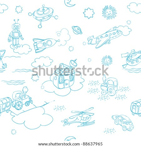 science retro 3D toys doodle pattern isolated on white