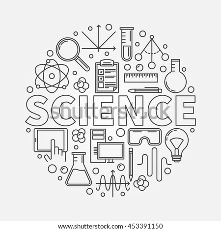 Science round illustration. Vector outline technology or education concept symbol. Science word with icons in thin line style
