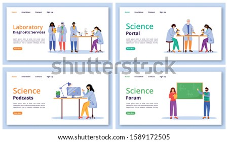 Science services landing page vector template set. Modern learning technology website interface idea with flat illustrations. Forums and portals homepage layout, web banner, webpage cartoon concept