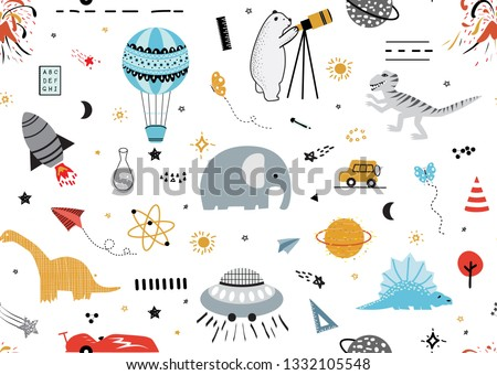 Science Space Background for Kids.  Pattern with Cartoon Rockets, Cute Dinosaurs,Mammoth, Planets, Car,Stars, Comets and UFOs.Vector illustration for children