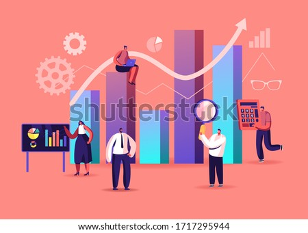 Science Statistics. Tiny Characters at Touch Screen and Huge Column Data Chart. Project Management Analysis. Hitech Technology Solutions with Development Graphs. Cartoon People Vector Illustration