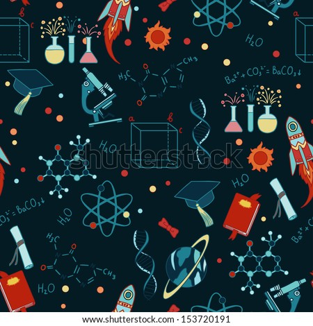Science stuff vector seamless pattern. - stock vector