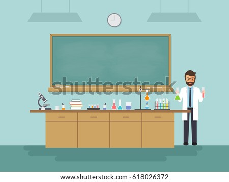 Science teacher, scientist professor standing with chalkboard teaching student in laboratory classroom at school, college or university. Vector illustration of flat design people cartoon character.