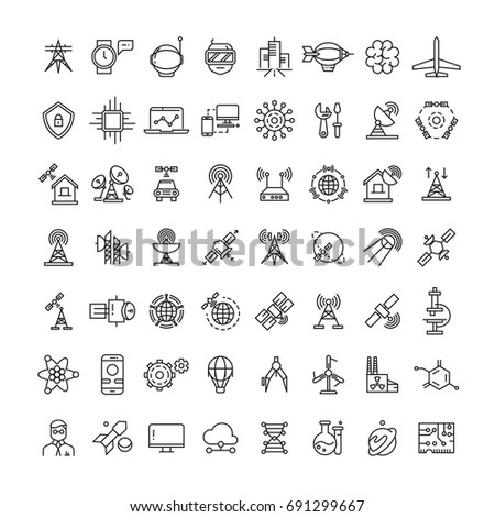 Science, technologies and satellite line icons collection. Line planet and spaceship illustration