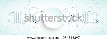 Science template, wallpaper or banner with a DNA molecules. Vector illustration. #1054514897