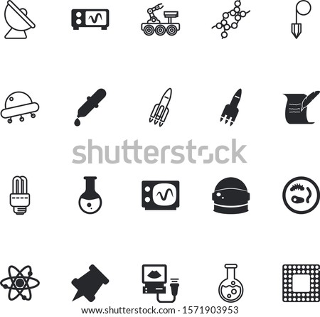 science vector icon set such as: communication, circuit, pushpin, eco, invasion, fix, cfl, dropper, read, spacecraft, unidentified, ink, proton, moon, neutron, appliances, urine, studying, push, book