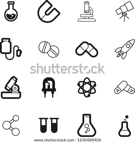 science vector icon set such as: help, sky, find, diode, silhouette, satellite, bright, magnet, collection, telescope, counter, discover, lamp, abstract, icons, electronic, discovery, observe