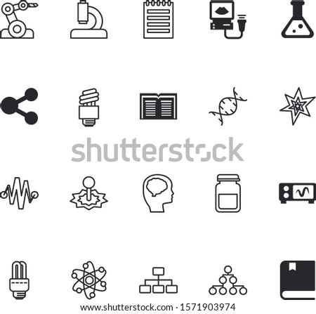 science vector icon set such as: physics, remote, notebook, ultrasound, blast, helix, proton, curve, robotic, optical, protection, display, factory, group, challenge, mind, fecal, ultrasonic