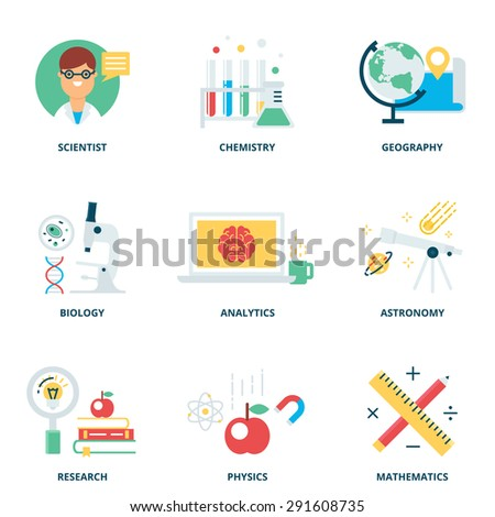 science vector icons set modern