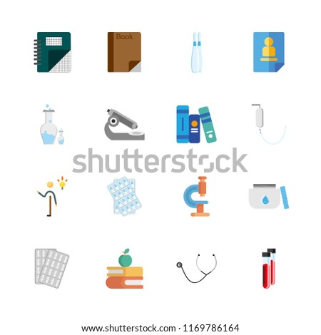 science vector icons set. system, microscope, medicine and stethoscope in this set.