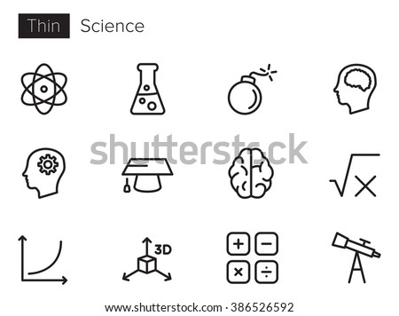 Science vector icons set Thin line outline