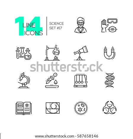 Science - vector modern single line icons set. Scientist, glove, glasses, respirator, flask, telescope, magnet, microscope, pipette, pendulum, dna, book, spiral, microorganism, biohazard