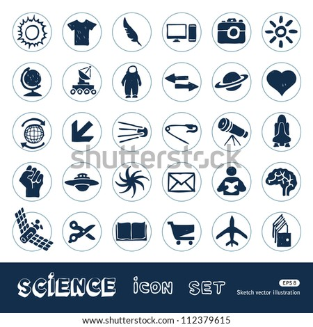 Science web icons set. Hand drawn sketch illustration isolated on white background
