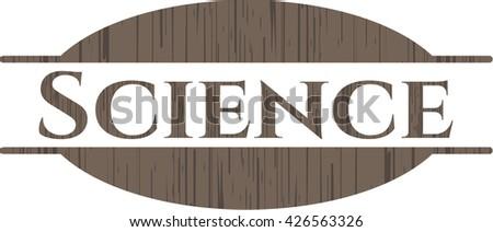 Science wood emblem. Vintage.
