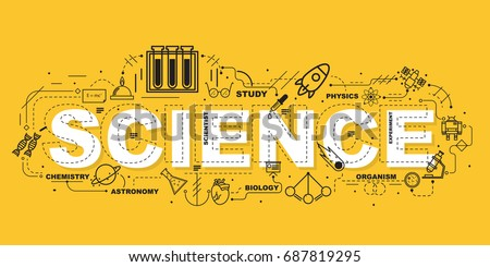 Science word for education with icons flat design